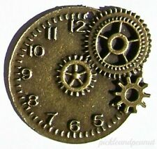 Antique Bronze Tone Clock Watch Face Charm Pendant Cogs Gears Steampunk