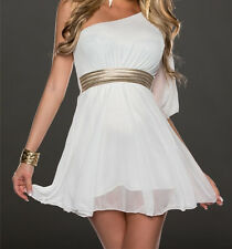 2014 Women Fashion Sexy Solid Color Strapless One Shoulder Chiffon Dress 4 Color