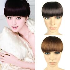 New Fashion Girls Clip on Front Neat Bang Fringe Hair Extensions