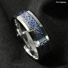 8/6Mm Silvering Celtic Dragon Tungsten Carbide Ring Wedding Band Mens Jewelry