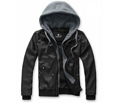 Super Men Gorgeous Slim fit Cotton Synthetic Leather Hoody Jackets Coat Cheap