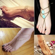 Sexy Barefoot Sandal turquoise Anklet bracelet Foot Ankle Chain Toe Ring Jewelry