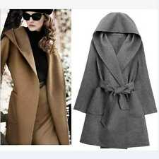 NEW Women Hooded Cotton Cashmere Trench Warm Winter Coat Parka Overcoat Jacket