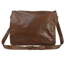 VIPARO Tan 17 inch Vintage Wash Leather Messenger Satchel Bag - Jackson