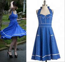 Vintage Rockabilly Polka Dot Retro Swing 50s 60s pinup Halter Housewife Dress