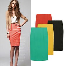 New Womens Bodycon Pencil High Waisted Ladies Midi Skirt Business Office Work