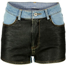 VIPARO Blue  Denim & Black Leather Shorts - Arianna