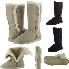 Womens Fur Boots Faux Winter Suede Snow Calf Warm Fashion Sheepskin Shoes New
