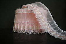 Lace Pleated With Pleated Satin Ribbon & Lace Trim, Black, White, Cream,Pink.
