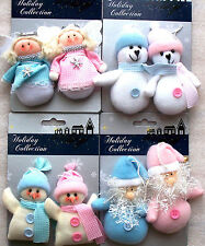 Traditional Angel Santa Snowman Polar Bears Christmas Tree Decorations Blue Pink