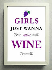 """Striking Typographical Print / sign / gift """"Girls just wanna have..."""" Free Post"""