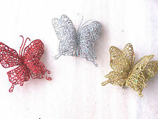 Quality Butterfly Glitter Clip On Christmas Tree Wreath Garland Decorations