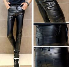 Faux Leather Men's Cool Black Casual Motorcycle Skinny Fit  Biker Pants Trousers