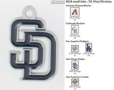 MLB team logo fobs (NL West), pewter-toned, various teams & keychain options