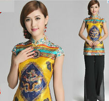 gold charming chinese silk women's Top T-shirt blouse dress 6.8.10.12.14.16.18