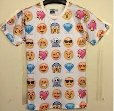 Size S 3D Emoji Emotion Smile Face Printed T Shirt Short Sleeve Exclusive Surply