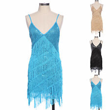 Retro 20s 30s Flapper Sequin Fringed Costume Cocktail Party Dance Dress Outfit