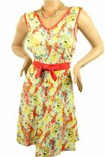 DEALZONE Flower Front Bow Dress 1X 2X 3X Women Plus Size Red Cocktail
