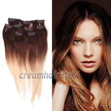 Brazilian Premium Clip-in Dip Dye Ombre Remy Human Hair Extensions Straight Hot