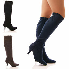 LADIES WOMENS STRETCH BOOTS LOW KITTEN HEEL KNEE HIGH POINTY LONG LEG SHOES SIZE