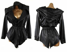 SEXY MATTE BLACK FAUX LEATHER TRENCH HOODIE DRAWSTRING WRAP HOODED JACKET COAT