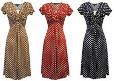New Slinky Ladies Vtg WW2 Land girl 1940s/50s Polka Dot Pin-up Swing Tea Dress