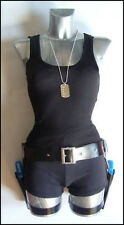 COMPLETE Lara Croft Fancy Dress Costume Holsters,G uns,Top,Shorts,Gloves,Tag