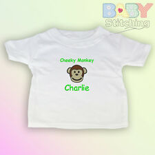 """""""Cheeky Monkey"""" - Personalised Embroidered Baby T-Shirt - Baby Gift"""