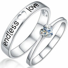 Fashion Endless Love Lovers Couple Ring White Gold GP CZ Engagement Wedding Band