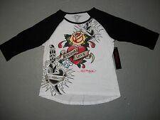 NWT WOMENS JR ED HARDY SHIRT 3/4 SLEEVE ETERNAL LOVE BLACK GRAPHIC ROSE TEE L XL