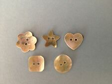 White Mother of Pearl Shell Buttons. Round, Star, Square, Flower or Heart (B32)