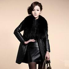 Womens Faux Leather Coat With Faux Fur Plaids Coat Long Jacket Outerwear BLK E25