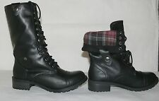 Soda Women Oralee Combat Army Military Riding Boots Cuff Down Black