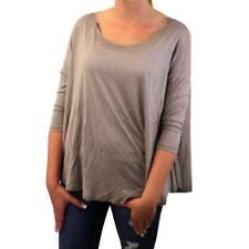 Woman's Taupe Blousey Blouse Shirt Top Polyester Rayon Long Sleeve Flowy Thin