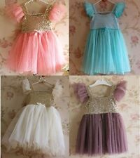 Baby Girls Sequins Sleeveless Tutu Dress Toddler Fancy Party Dresses Age1-6Y