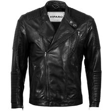VIPARO Mens Black Moto Quilted Padded Lambskin Leather Biker Jacket - Leo