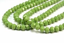 Crystal quartz, faceted rondelle, green color bead, jewelry bead