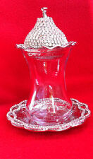 Glorry Silver Turkish Tea Cup Glass Saucer Sugar Lid Bowl Swarovski Coated - M01