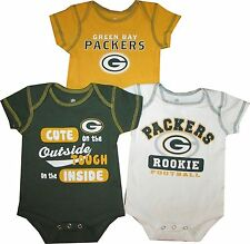 Green Bay Packers 3pc Creeper Bodysuit Set Infant Baby CUTE