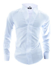 Men Shirt Elegant Party Celebration Wedding Stand-Up Grandad Collar White Cotton