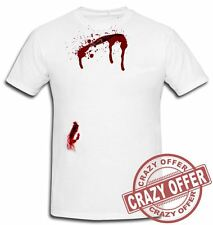 NEW MENS HALLOWEEN SHIRTS BLEEDING SCAR PRINTED WHITE T-SHIRTS FANCY PARTY DRESS