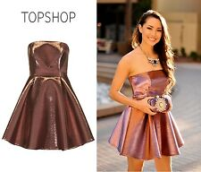 Topshop Exclusive Two Tone Strapless Bandeau Party Prom Skater Dress RRP £75.00