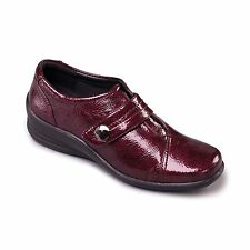 Padders SIMONE Womens Ladies Patent Leather Velcro E/EE Dual Wide Shoes Plum Red