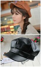 Women Fashion Black Brown Winter Faux Leather Captain Caps Painter Hats Berets