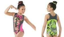 NEW Camouflage Camo Print Dance Gymnastics Leotard + Scrunchie Child Sizes