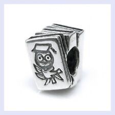 .925 STR Silver Wise Owl Scholar Books Education Bead f/ European Charm Bracelet