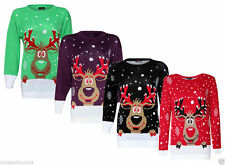 Plus Sizes Womens Rudolph Reindeer Knitted Christmas Jumper Sweater Pullover Top