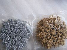 10cm Glitter Snowflake Christmas Tree Room Decoration Silver or Gold x 5