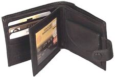 Genuine Lambskin Leather Men's Wallet Coin Pocket with Button BLK, BROWN #4143-L