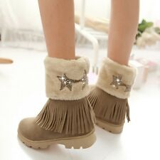 Womens Tassels Fringe High Heel Fur Furry Wedge Snow Ankle Boots Shoes Plus Size